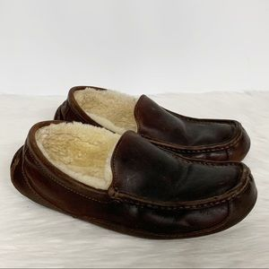 Ugg   Brown Leather Shearling Slip-on Loafers